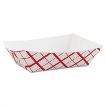 SCH 0425 3LB Red Plaid Food Dish 500 Per Case