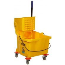 CFS 3690404 26-35 QT Yellow Bucket & Side Press Wringer Fits 12-32oz Mop Head Per Each