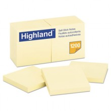 MMM 6549YW Self-Stick Notes, 3 x 3 Yellow 100- Sheets 12 Per Pack