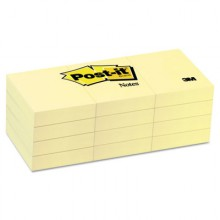 MMM 653YW 3M Post It Pads Canary Yellow 1.5x2 12-100 Per Pack