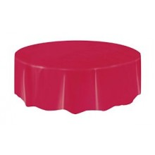 Northwest 84RD 84 Inch Round RED Plastic Table Covers 24/case