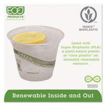 ECO EPCC9SGS 9 Ounce Green Stripe Renewable & Compostable Cold Cups 1000 Per Case