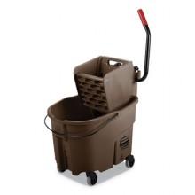 RCP FG758088BRN WaveBreak 2.0 35 QT Brown Bucket & Side Press Wringer Fits 12-32oz Mop Head