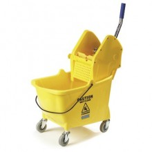 CARLISLE 3690504 26-35 QT Yellow Bucket & Down Press Wringer Fits 12-32oz Mop Head Per Each